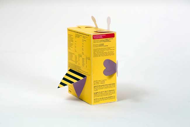 Mẫu in hộp ngũ cốc hình con ong vàng